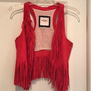 abercrombie fringe boho style vest!